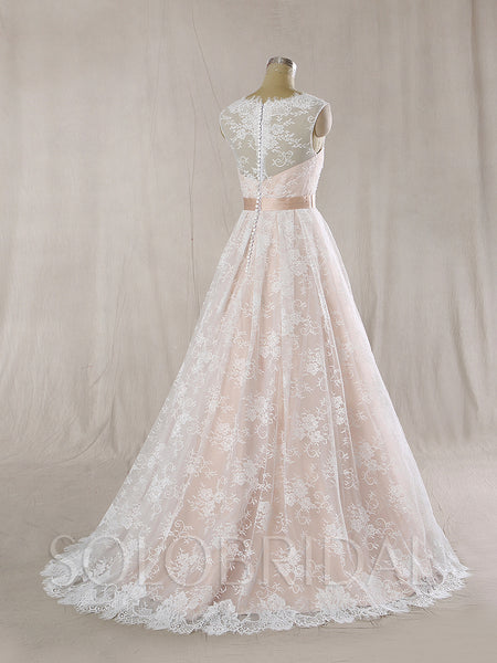 A Line Wedding Dress with Nude Lining and Ivory Lace