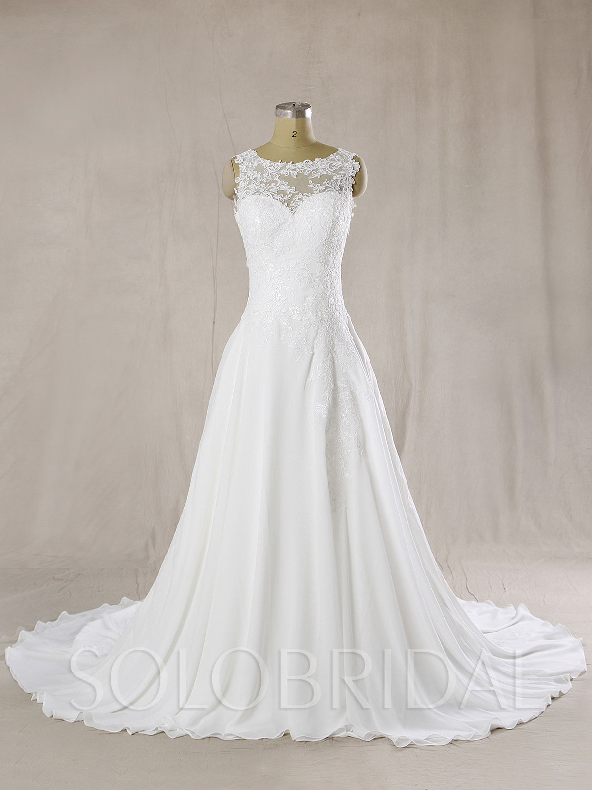 Chiffon Wedding Dress with Drop Waist