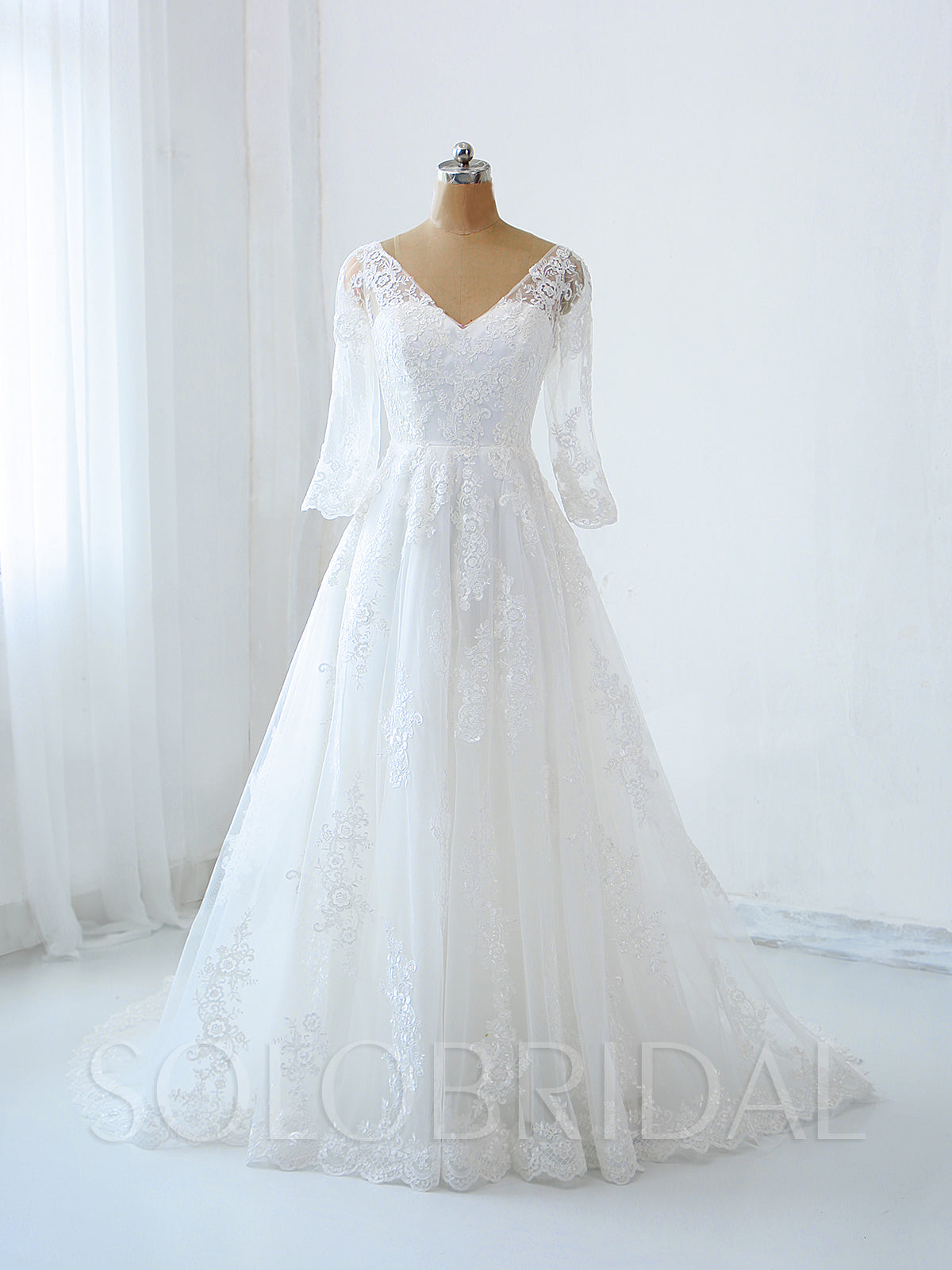 Light Ivory Lace Wedding Dress with Elbow Sleeves