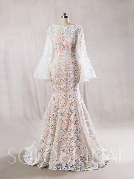 Ivory Lace with Blush Lining Wedding dress and Long Bell Sleeves Mermaid Shape