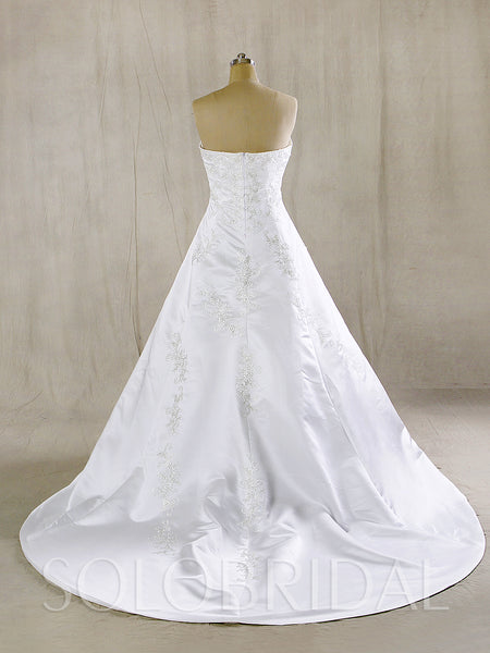 White Satin Wedding Dress with Silver Embroidery and Train