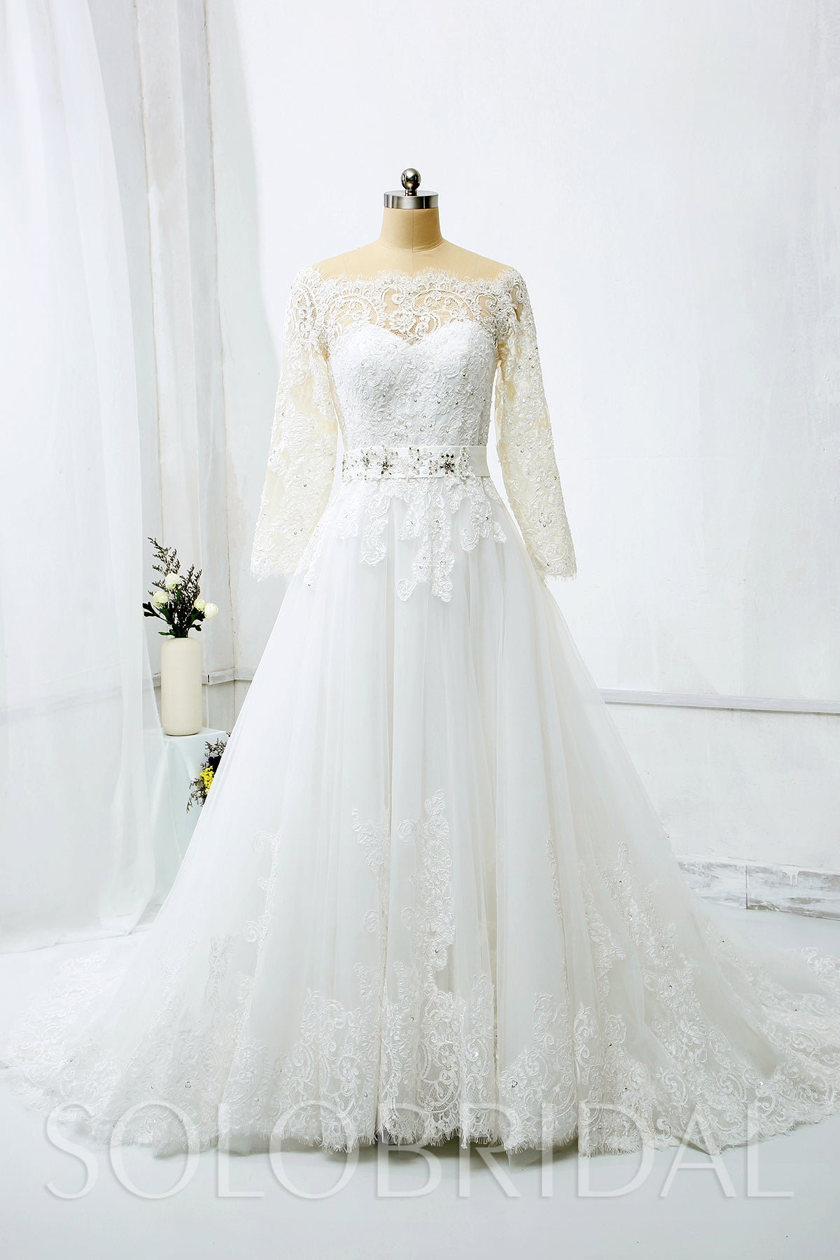 A Line Wedding Dress with Off shoulder Long Sleeves and Beaded Belt