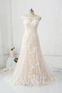 Champagne Lining Overlayed with Ivory Lace Wedding Dress with Court Train