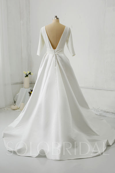 Silk Satin with Half Sleeve Pockets Wedding Dress