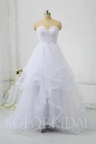 White Ruffle Tulle Skirt Wedding Dress
