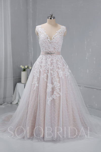 Blush Wedding Dress with Beaded Belt and Corset Back