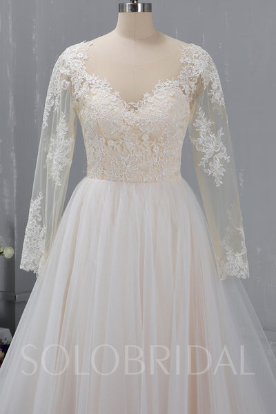 Champagne Wedding Dress with Tulle Skirt