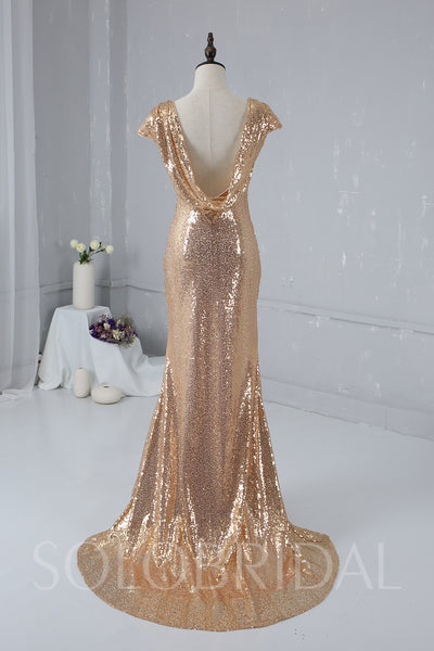 Blush Gold Sequin Bridemaid Dress