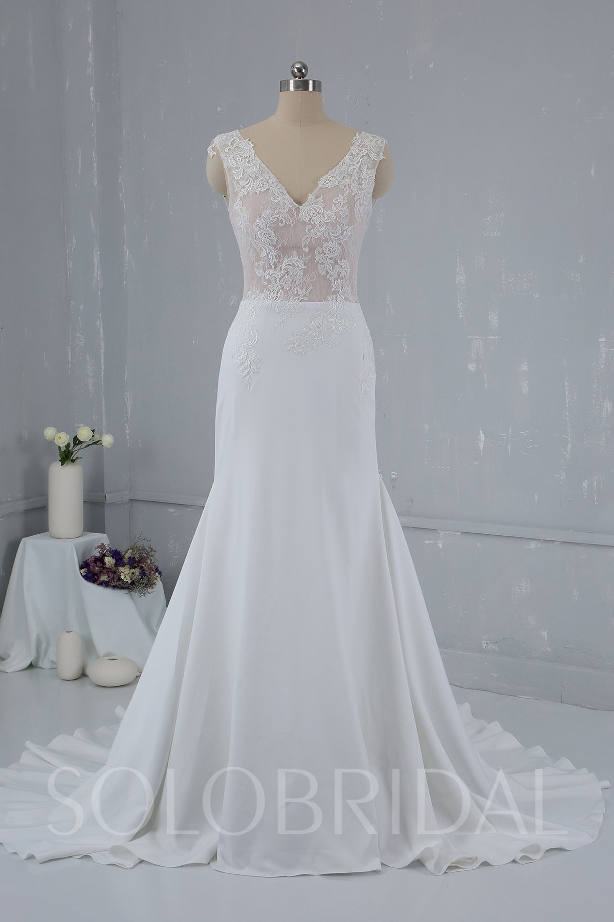 Skin Color Lace Bodice with Crepe Skirt Triangle Pleatings Ivory Wedding Dress