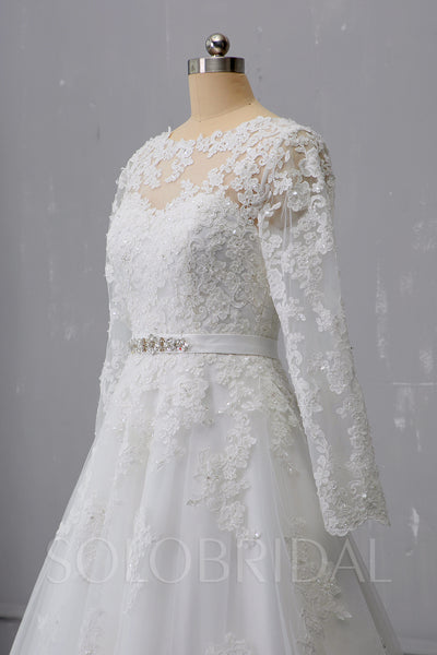 A Line Long Sleeve Ivory Wedding Dress with Court Train and New Lace