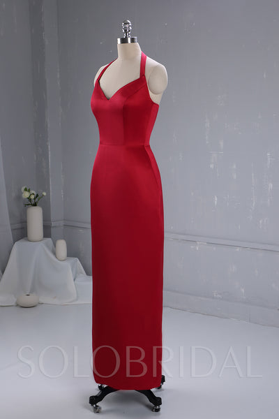 Maroon Satin Bridesmaid Dress