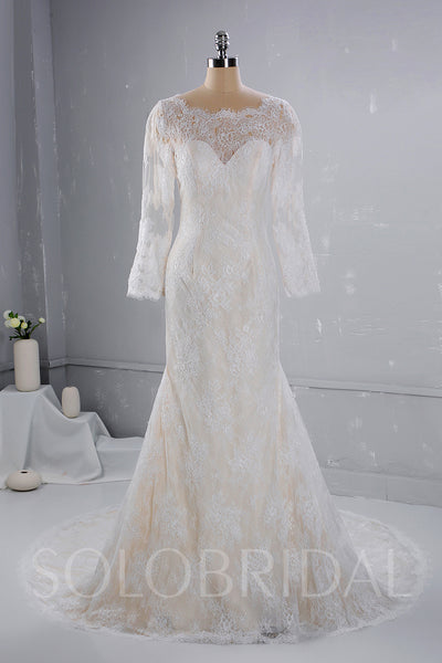 Champagne Wedding Dress with Ivory Lace overlayed