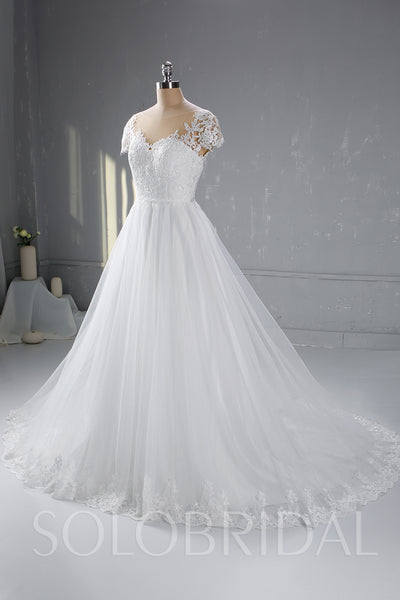 Ivory A Line Wedding Dress with Cathedral Train