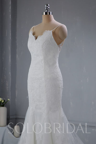Light Ivory Wedding Dress with Fitted Thin Straps