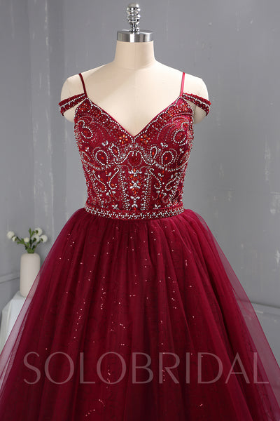 Maroon Red Heavy Beaded Bodice Short Dress