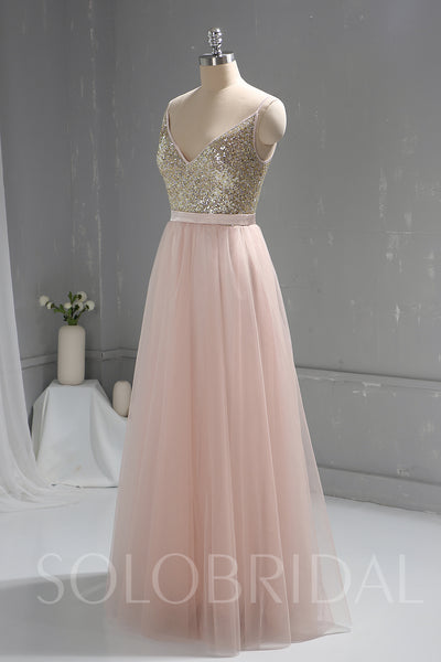 Pink Sequin Bodice Tulle Skirt Bridesmaid Prom Dress