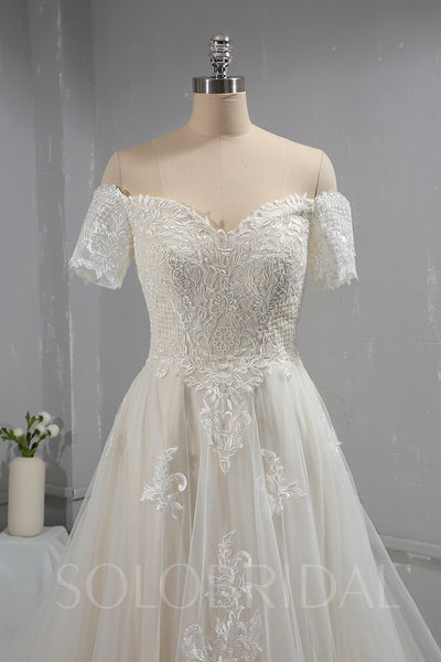 Short Off Shoulder Sleeves Tulle Lace Wedding Dress