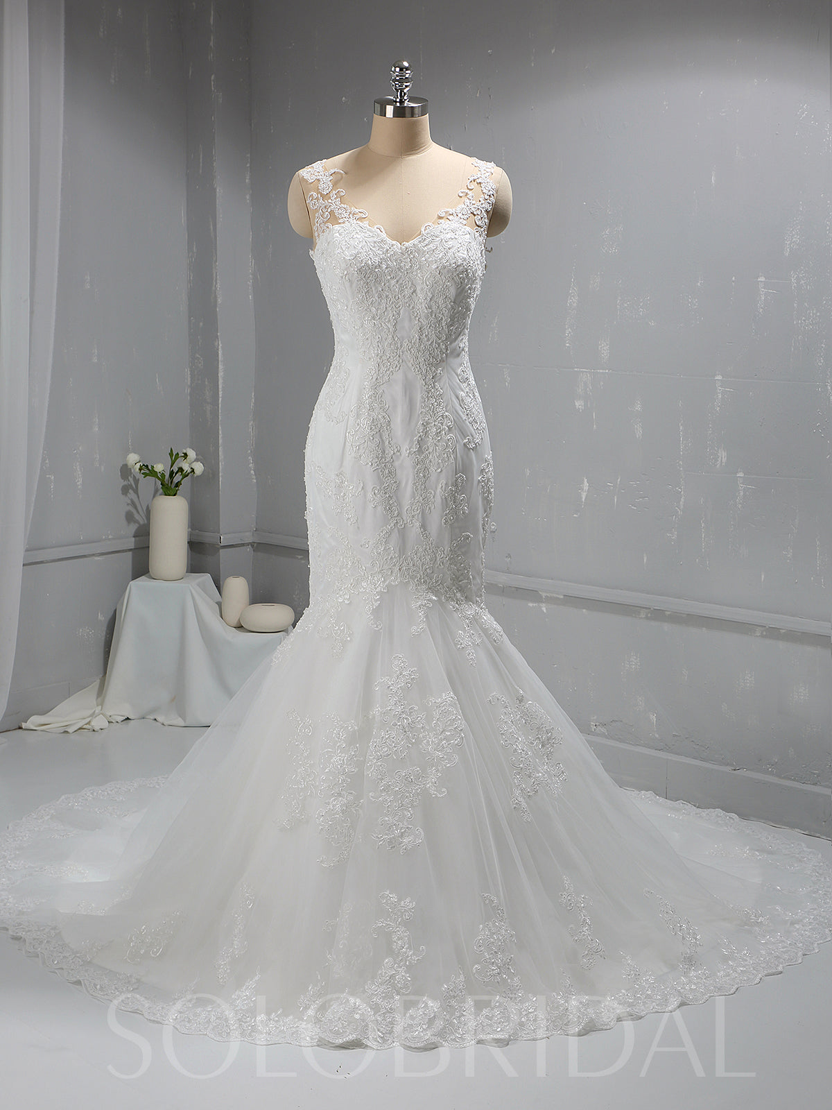 Ivory Mermaid Lace Wedding Dress