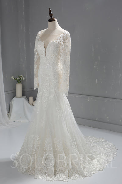 Long Sleeve Sparkling Lace Wedding Dress