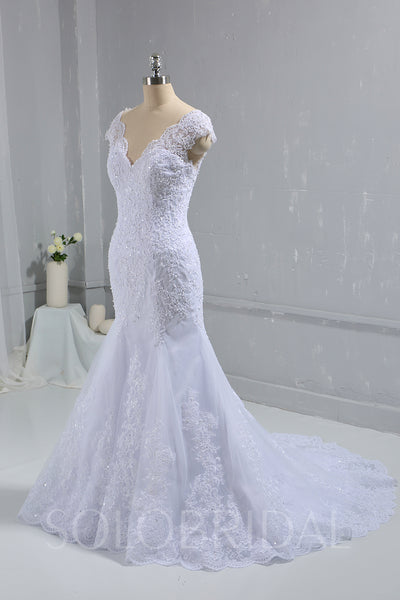 White Fitted Lace Wedding Dress with Cap Sleeves & Cathedral Train