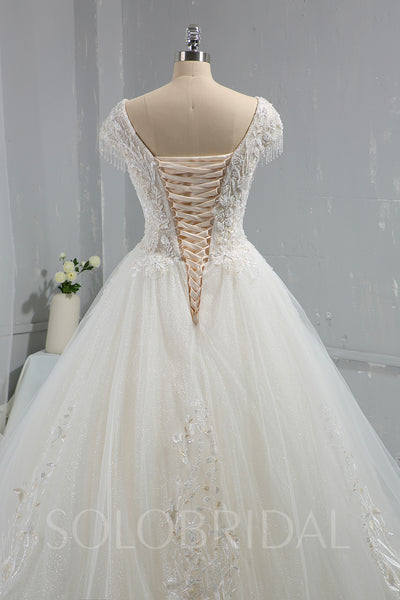 Ivory Sparkling Beaded Ball Gown Wedding Dress with Cap Sleeves