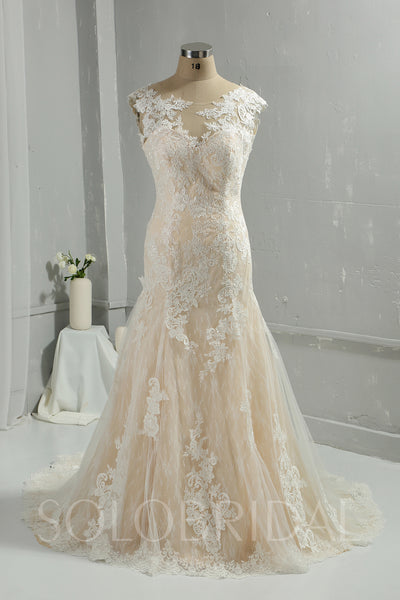 Champagne Mermaid Wedding Dress with Court Train