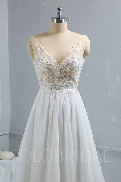 Chiffon Wedding Dress with Beaded Lace