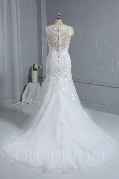 Lace Sheath Column Wedding Dress with Straps