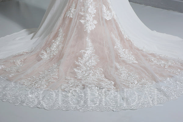 Ivory Crepe Wedding Dress with Lace Train