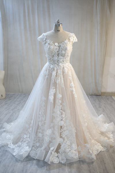 Blush Lining and Ivory Tulle Lace Wedding Dress