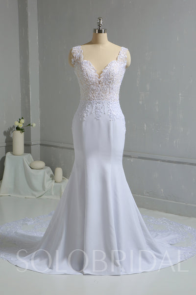 White Chiffon Mermaid Wedding Dress with Lace Train