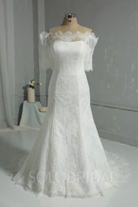 Ivory Lace Wedding Dress with Off Shoulder Half Sleeves