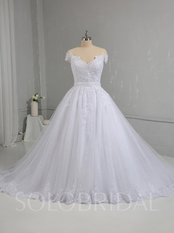 White Sparkling Tulle Skirt Off Shoulder Wedding Dress
