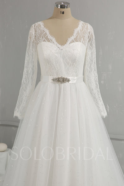 Light Ivory Lace Shiny Tulle Skirt Long Sleeve Wedding Dress