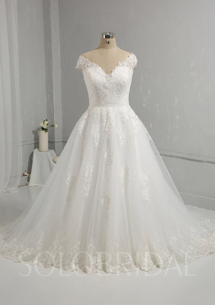 Ivory Ball Gown Wedding Dress with Cotton Lace