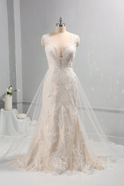 Ivory Lace Wedding Dress with Champagne Lining and Removable Lace Train
