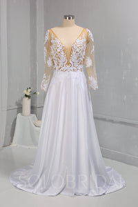 Bridal Satin Wedding Dress with Sexy Bodice and Long Sleeves