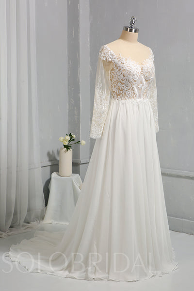 Ivory Chiffon Wedding Dress with Tulle Long Sleeves