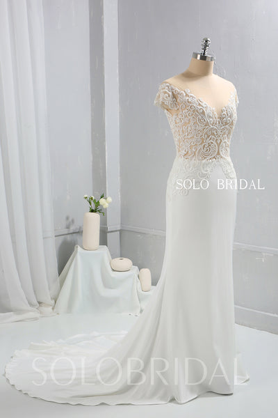 Ivory Crepe Fitted Wedding Dress with Fully beaded Sexy Bodice