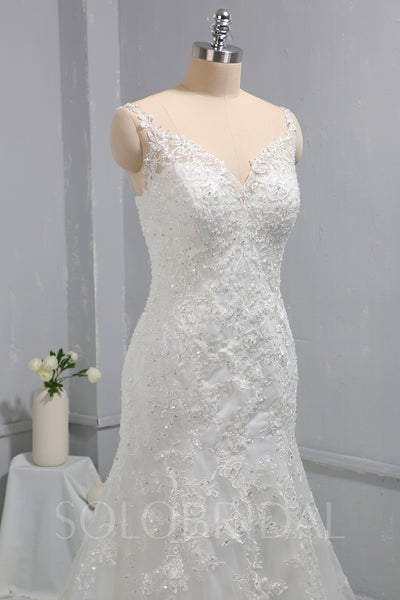 Ivory Mermaid Lace Fitted Wedding Dress with Court Train