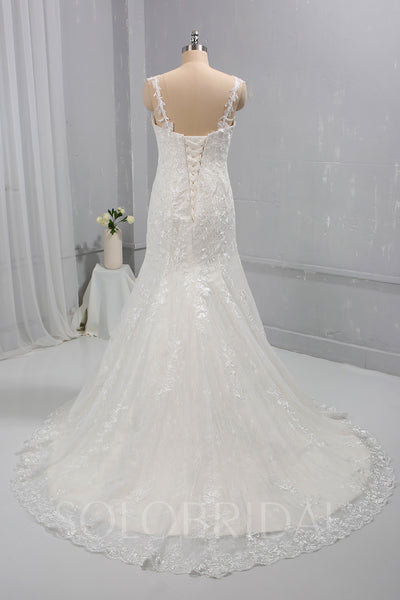 Ivory Fitted Mermaid Wedding Dress with Thin Lace Straps