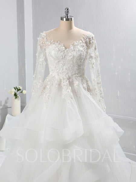 Ivory Lace Bodice Long Sleeve Wedding Dress with Ruffle Skirt and Catherdral Train