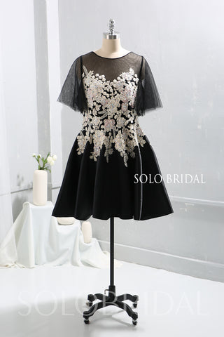 Black Embroidered Tulle Mother of Bride / Maid of Honor Dress