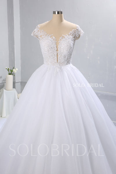 White Ball Gown Wedding Dress with Tulle Skirt and Plunging Neckline