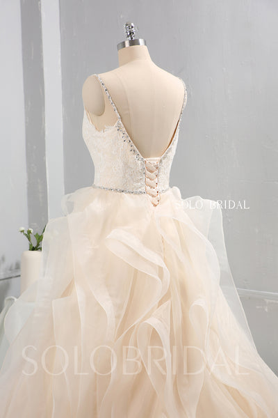 Champagne Tulle Ruffle Skirt Wedding Dress with Diamond Belt