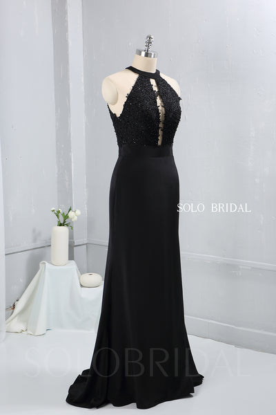 Black Halter Neck Bridesmaid Dress with Sweep Train