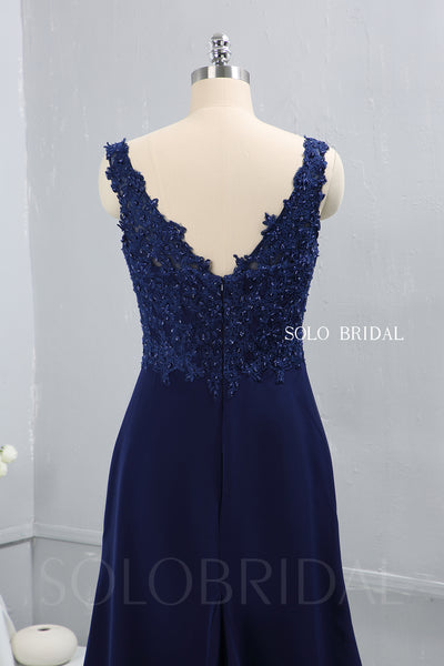 Royal Blue Crepe V Neckline Bridesmaid Dress