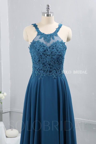 Teal Blue Chiffon Halter Neck Bridesmaid Dress
