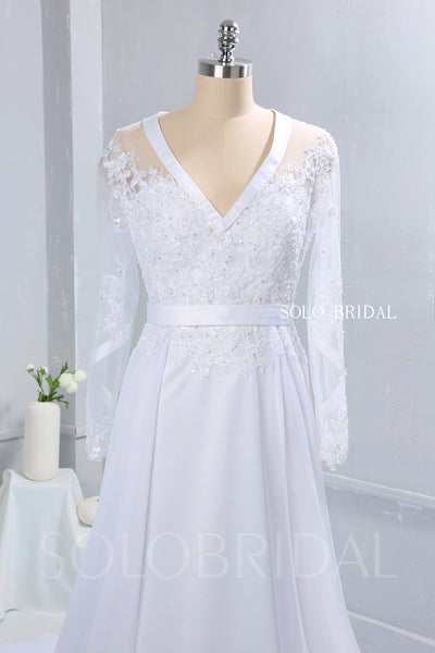 White Chiffon Wedding Dress with Satin Ribbon Bustline and Long Sleeves