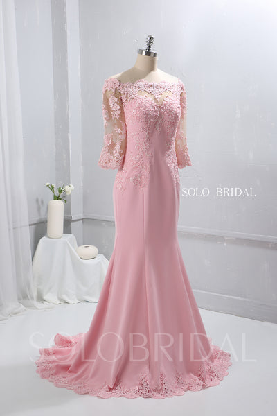 Blush Pink Crepe Fit and Flare Prom Dress